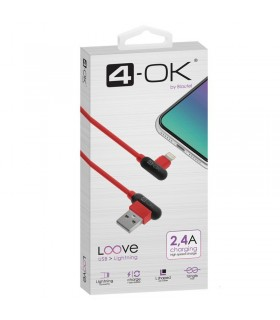 CABLE USB A LIGHTNING 2.4A Rojo
