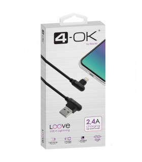 CABLE USB A LIGHTNING 2.4A Negro