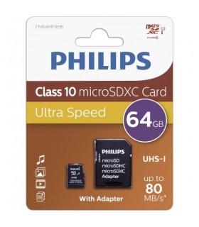 Tarjeta Memoria MicroSD 64GB Philips