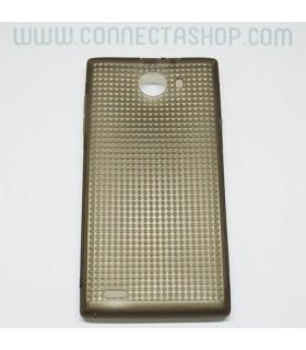 Funda silicona Inew V3 translúcida con grabado marrón