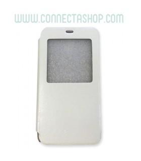 Funda con tapa y ventana  Meizu M1 Básica Blanca